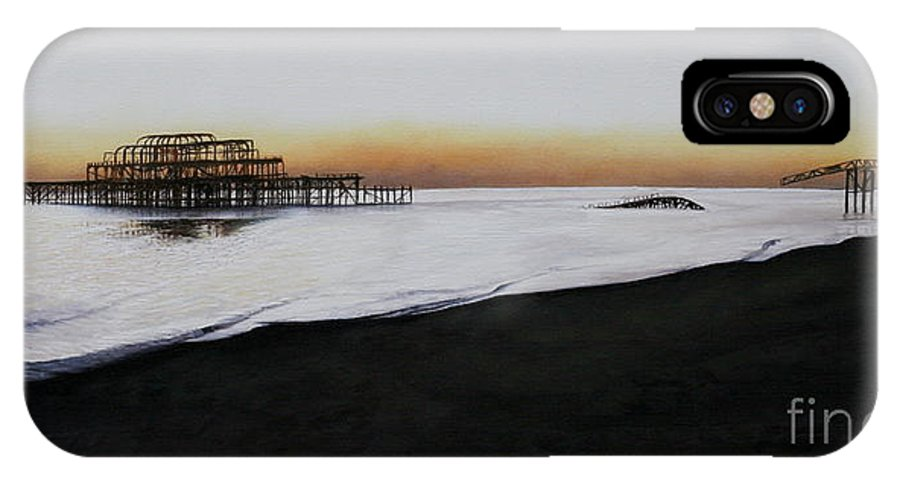 Oil IPhone X Case featuring the painting Brighton West Pier-tranquil Sunset by Pauline Sharp