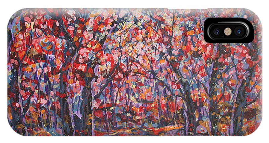 Forest IPhone X Case featuring the painting Brilliant Autumn. by Leonard Holland