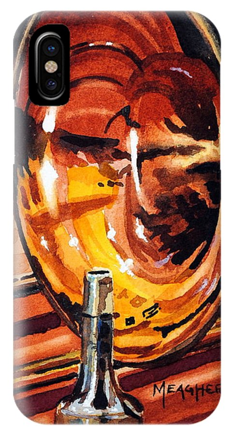Trombone IPhone X Case featuring the painting Brilliant Brass by Spencer Meagher
