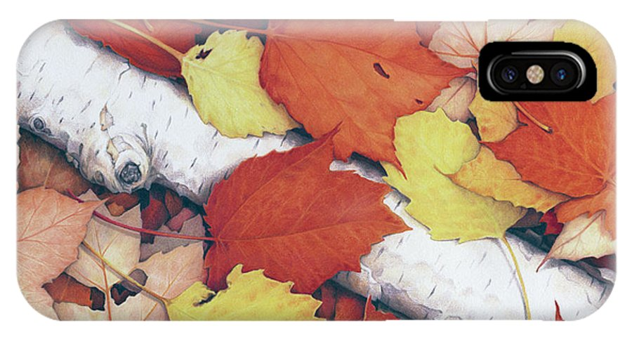 Fall IPhone X Case featuring the drawing Brilliant Embers by Amy S Turner