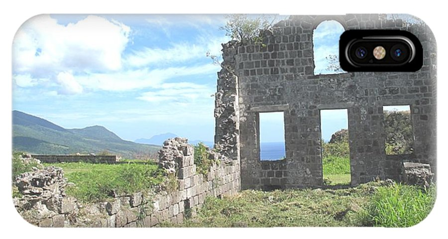 St Kitts IPhone X Case featuring the photograph Brimstone Ruins by Ian MacDonald