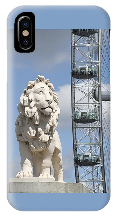 Lion IPhone X Case featuring the photograph Britannia Lion by Margie Wildblood