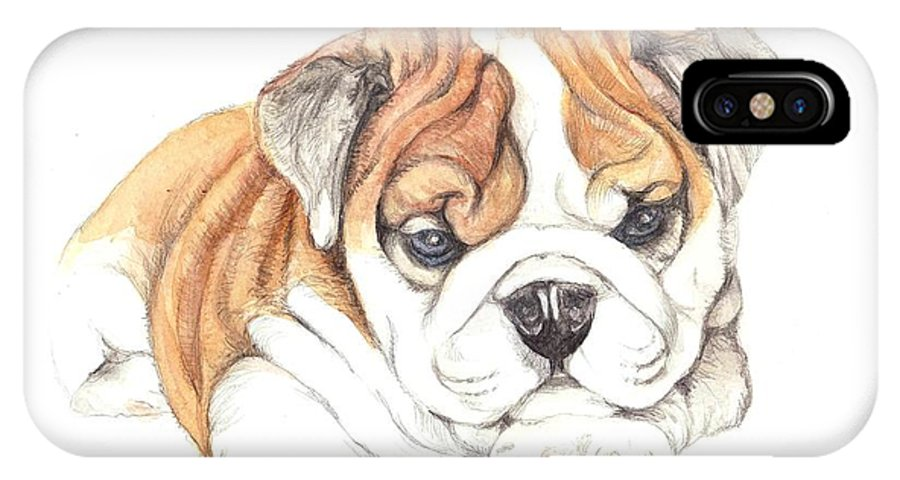 Brittish IPhone X Case featuring the painting British Bulldog Puppy by Morgan Fitzsimons