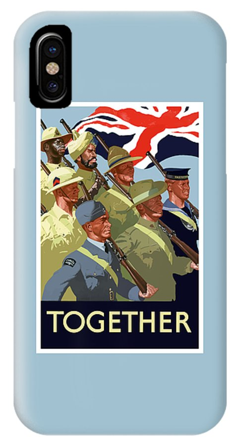 Union Flag IPhone X Case featuring the painting British Empire Soldiers Together by War Is Hell Store