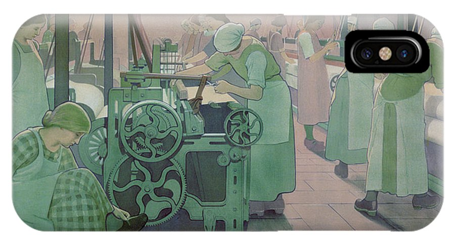 Factory; Twenties; Women; Machinery; Looms; Protective Clothing IPhone X Case featuring the painting British Industries - Cotton by Frederick Cayley Robinson