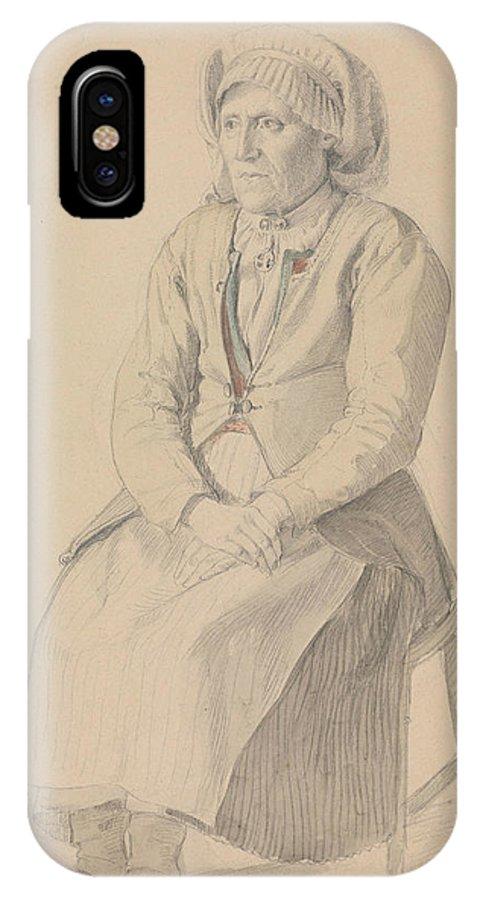Norwegian Art IPhone X / XS Case featuring the drawing Britta Peersdotter Reisaer, Ullensvang by Adolph Tidemand