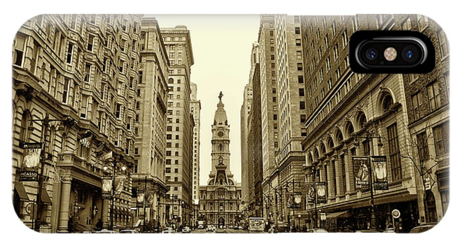 Broad Street IPhone X Case featuring the photograph Broad Street Facing Philadelphia City Hall In Sepia by Bill Cannon