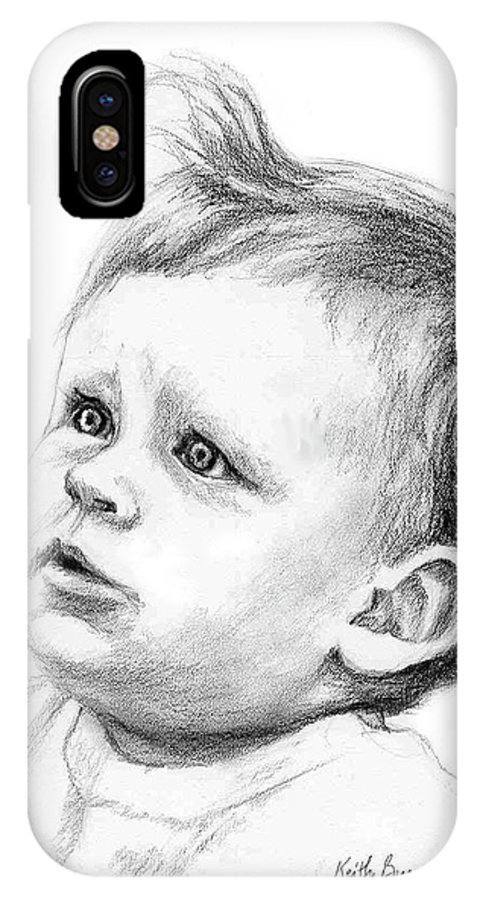Portrait IPhone X Case featuring the drawing Brodi by Keith Burgess
