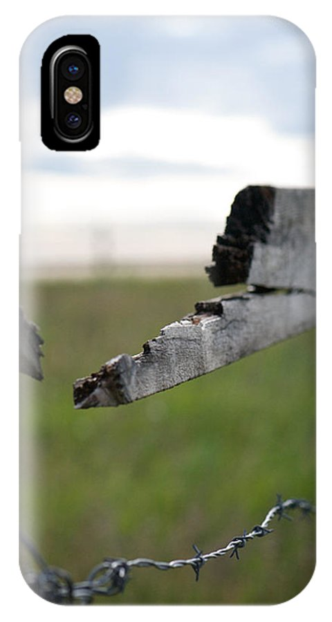 Interior Design IPhone X Case featuring the photograph Broken Fence Stormy Skies by Lisa Knechtel