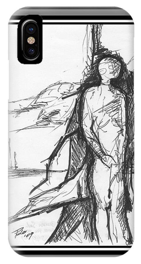 Sail IPhone X Case featuring the drawing Broken Sail by PAOLO Bianchi