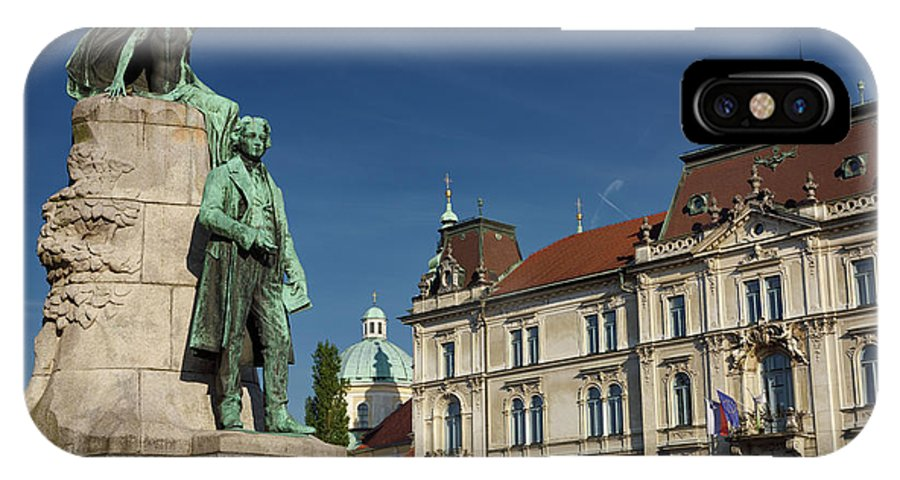 National Poet IPhone X Case featuring the photograph Bronze Sculpture Of National Poet Preseren Monument With Muse An by Reimar Gaertner
