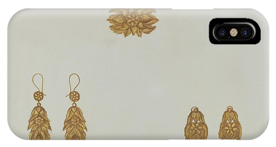 IPhone X Case featuring the drawing Brooch And Earrings by Vera Van Voris