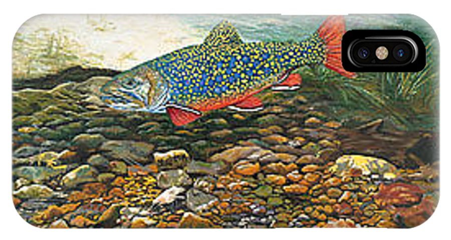 Nature IPhone Case featuring the painting Brook Trout Art Fish Art Nature Wildlife Underwater by Baslee Troutman