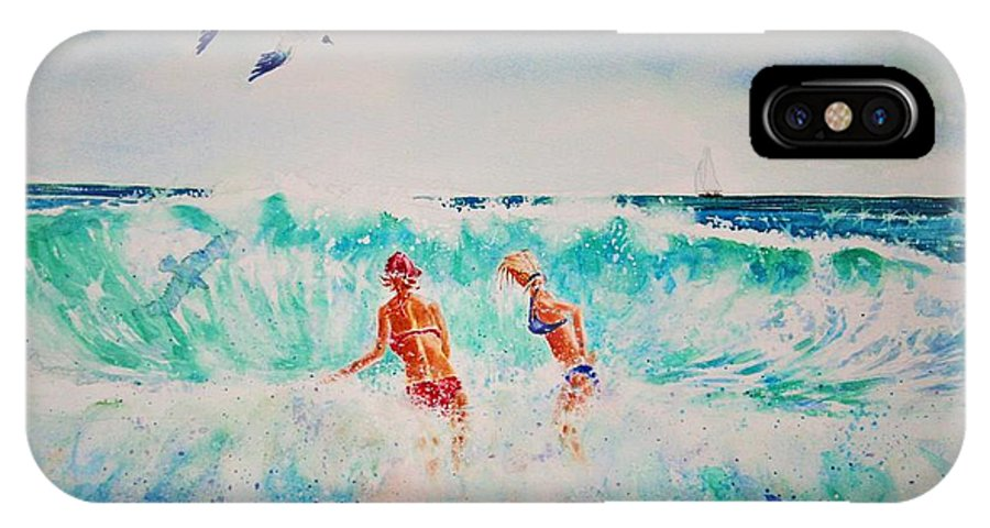 Surf IPhone X Case featuring the painting Brooke And Carey In The Shore Break by Tom Harris