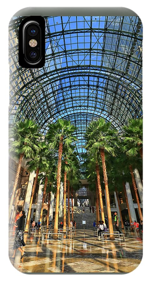 Atrium IPhone X Case featuring the photograph Brookfield Place Atrium - N Y C # 2 by Allen Beatty