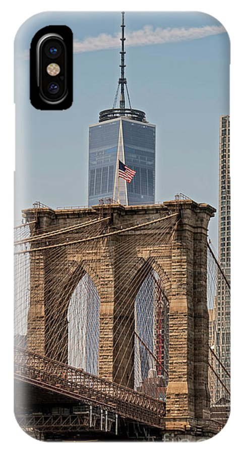 Manhattan IPhone X Case featuring the photograph Brooklyn Bridge And One World Trade Center In New York City by David Oppenheimer