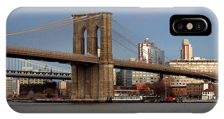 Brooklyn Bridge IPhone X Case featuring the photograph Brooklyn Bridge by Anita Burgermeister