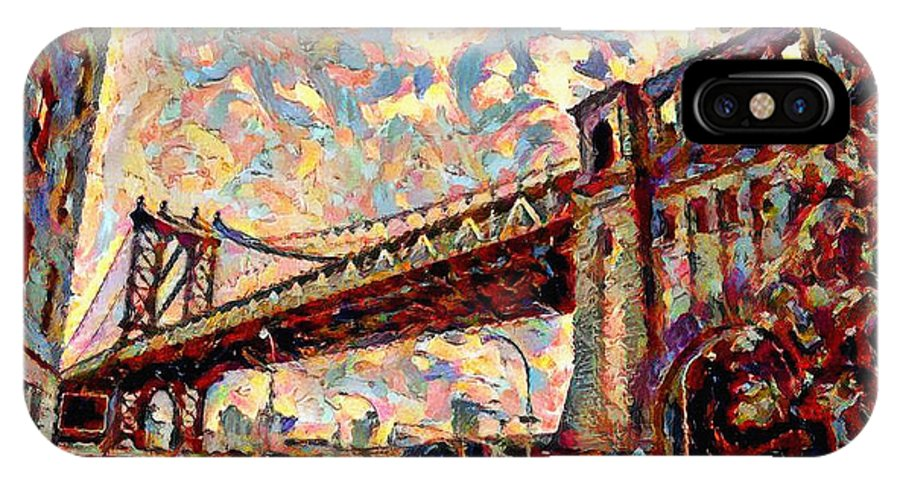 Brooklyn IPhone X Case featuring the painting Brooklyn Bridge Watercolor by Bill Cannon