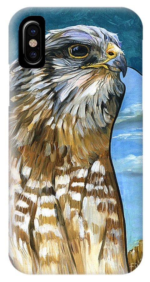 Hawk IPhone Case featuring the painting Brother Hawk by J W Baker