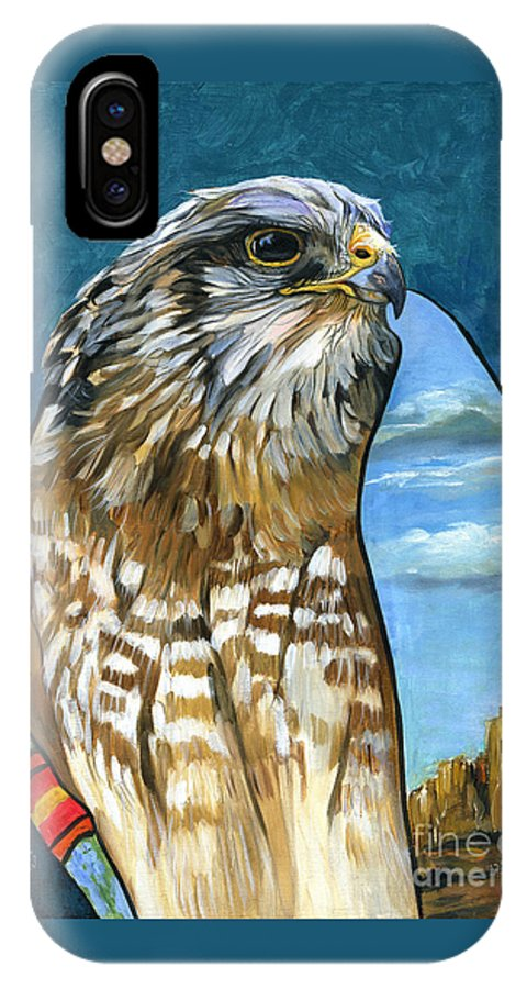 Hawk IPhone X Case featuring the painting Brother Hawk by J W Baker