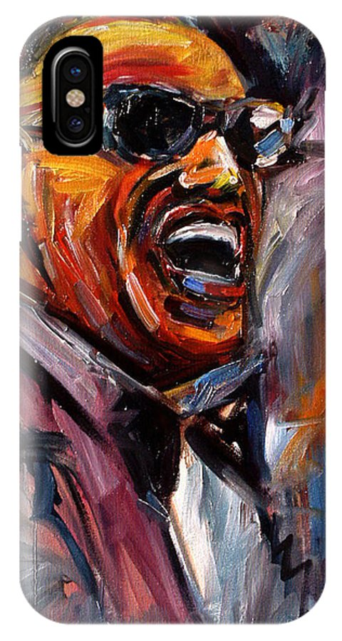 Jazz Art IPhone X / XS Case featuring the painting Brother Ray by Debra Hurd