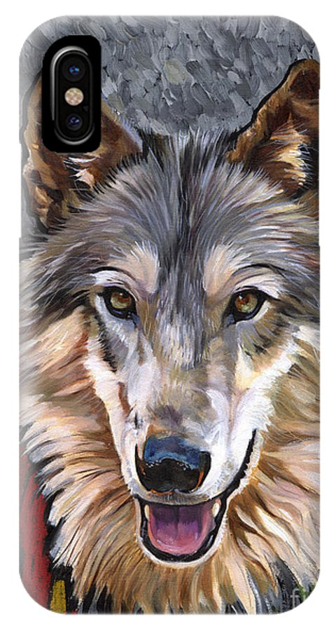 Wolf IPhone X Case featuring the painting Brother Wolf by J W Baker