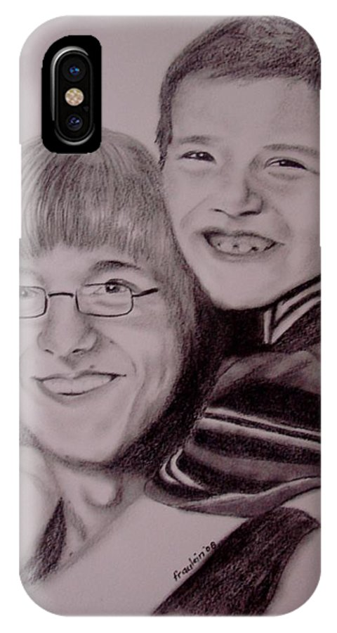 Portrait IPhone X Case featuring the drawing Brothers For Life by Glory Fraulein Wolfe