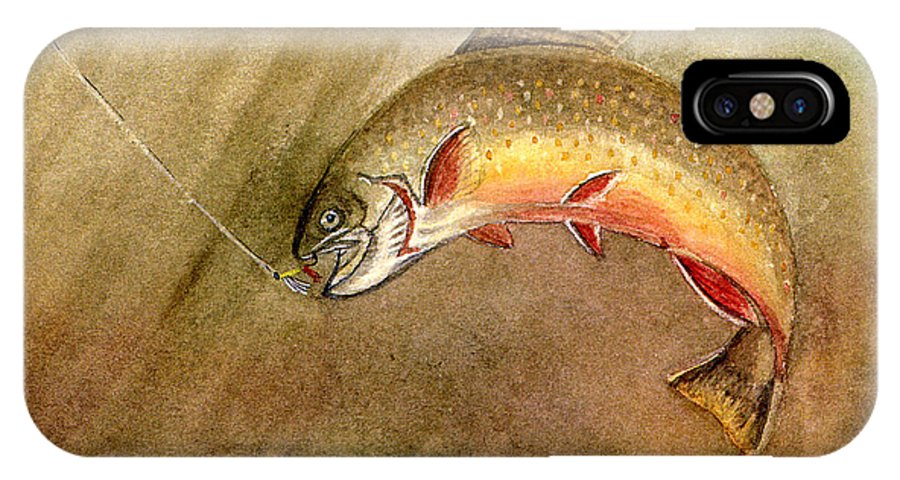 Trout IPhone X Case featuring the painting Brown Trout by Mary Tuomi