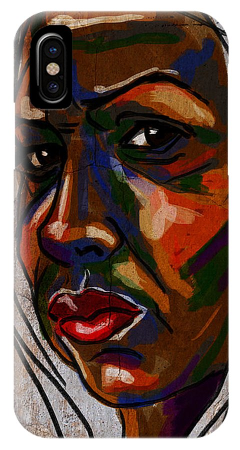 Portrait IPhone X Case featuring the digital art Brown Woman On Stone by Michael Kallstrom
