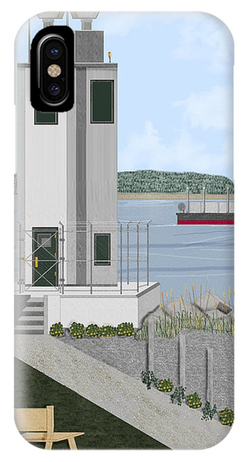Lighthouse IPhone X Case featuring the painting Browns Point Lighthouse On Commencement Bay by Anne Norskog