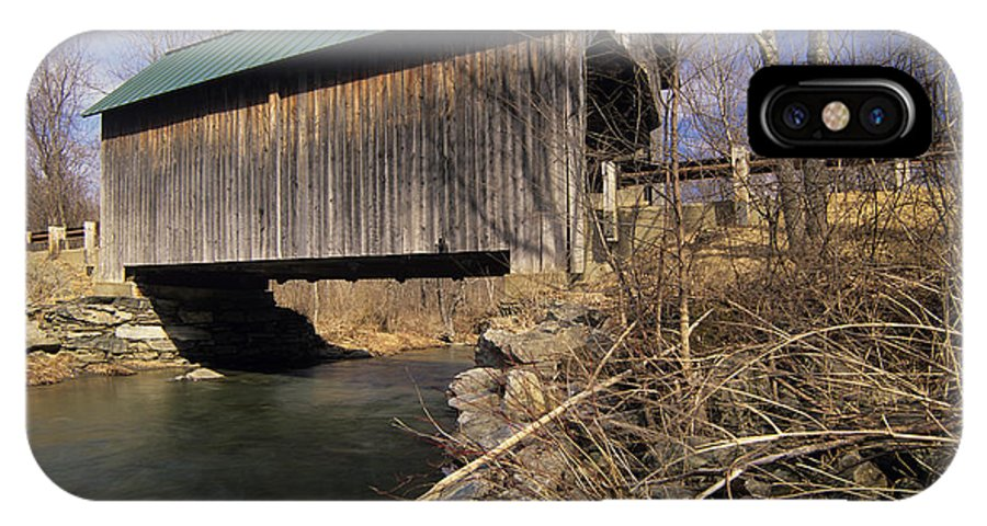 Bridge IPhone X Case featuring the photograph Brownsville Covered Bridge - Brownsville Vermont by Erin Paul Donovan