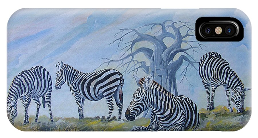 Zebra IPhone X Case featuring the painting Browsing Zebras by Anthony Mwangi