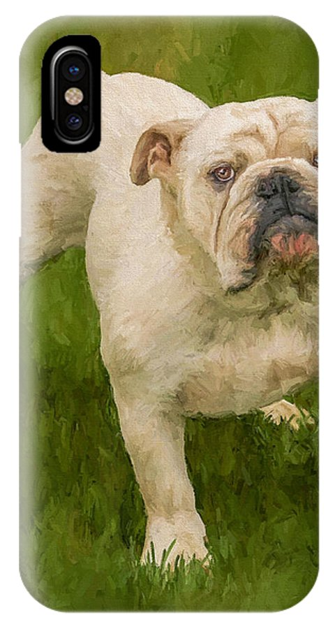 Dog IPhone Case featuring the painting Bruce The Bulldog by David Wagner