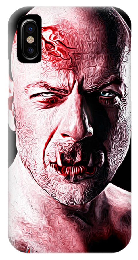 Bruce Willis IPhone X / XS Case featuring the painting Bruce Willis by Gene Spino