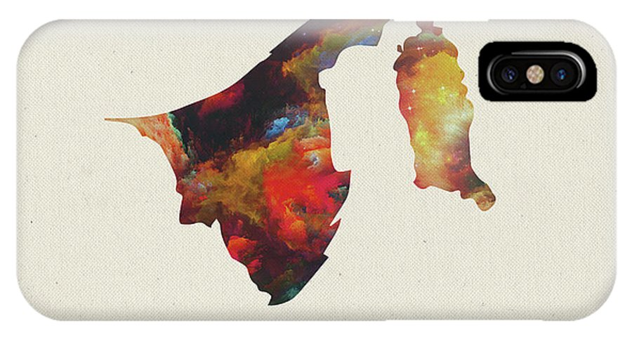 Brunei IPhone X Case featuring the mixed media Brunei Watercolor Map by Design Turnpike
