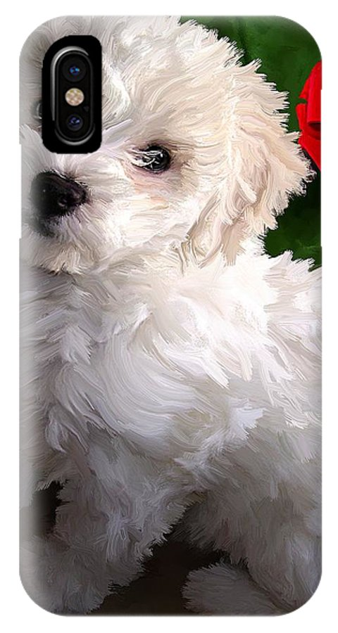 Bichon Friese IPhone X Case featuring the painting Bryce by David Wagner
