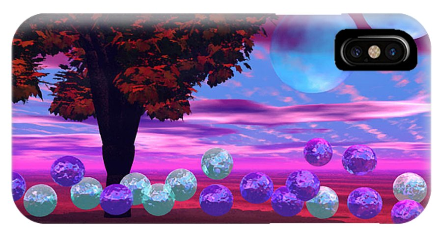 Red IPhone X Case featuring the digital art Bubble Garden by Diane Clancy