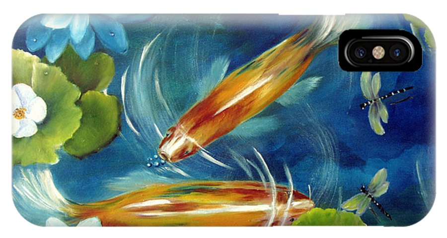 Koi IPhone X Case featuring the painting Bubble Maker by Carol Sweetwood