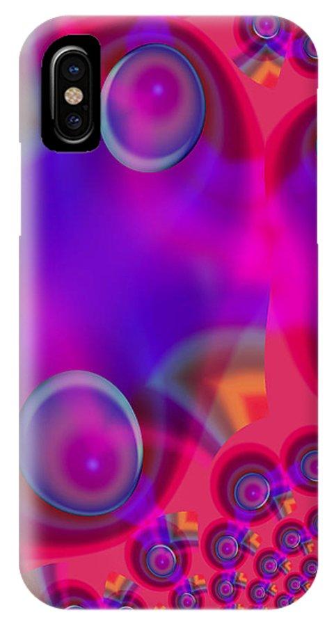 Bubbles Color Colorful Rainbow Pink Blue Yellow Purple Abstract IPhone X Case featuring the digital art Bubble Trails by Andrea Lawrence