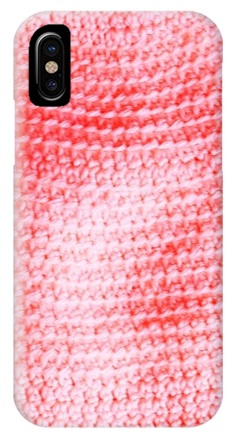 Hand Spun IPhone X Case featuring the tapestry - textile Bubblegum Knit by Erica Broadbent
