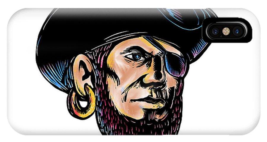 Scratchboard IPhone X Case featuring the digital art Buccaneer Eye Patch Scratchboard by Aloysius Patrimonio