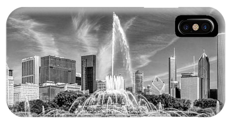Chicago IPhone X Case featuring the photograph Buckingham Fountain Skyline Panorama Black And White by Christopher Arndt