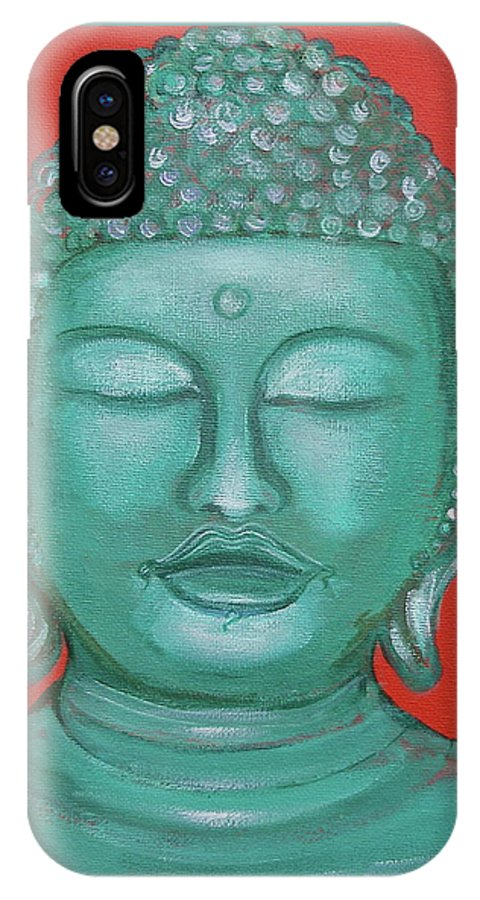 Buddah IPhone X Case featuring the painting Buddah I by Sue Wright