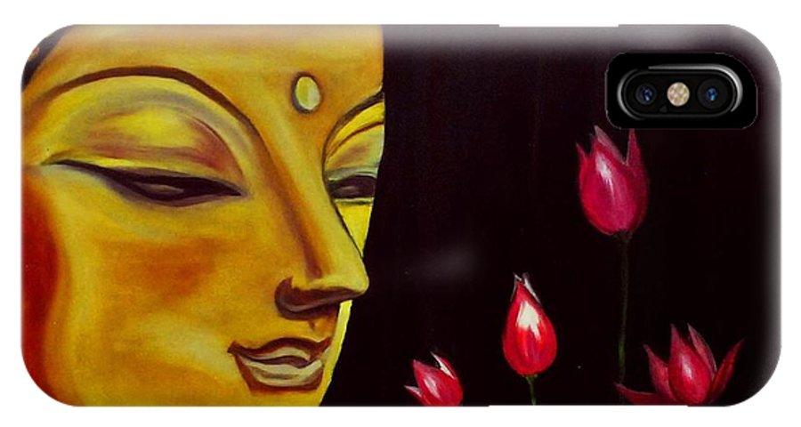 Buddha IPhone X / XS Case featuring the painting Buddha by Sreekala Nambiar
