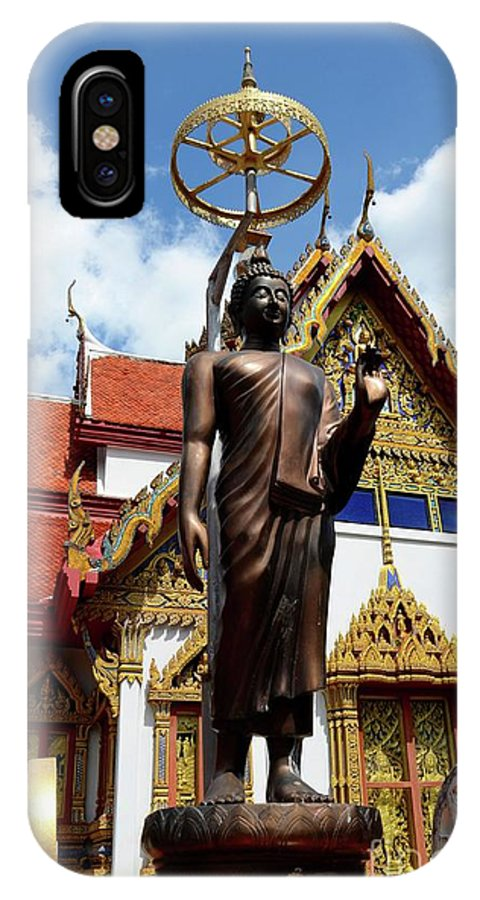 Temple IPhone X Case featuring the photograph Buddha Statue With Sunshade Outside Temple Hat Yai Thailand by Imran Ahmed