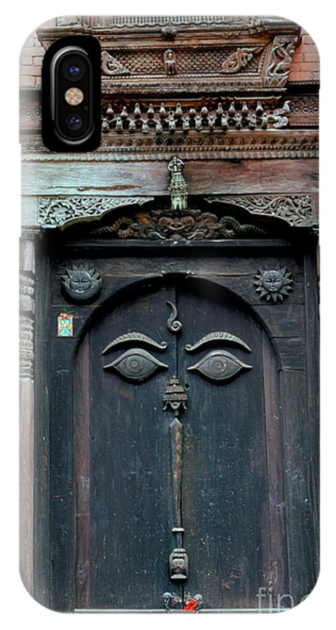 Nepal IPhone Case featuring the photograph Buddha's Eyes On Nepalese Wooden Door by Anna Lisa Yoder