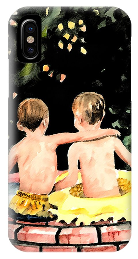Boys IPhone X Case featuring the painting Buddies by Arline Wagner