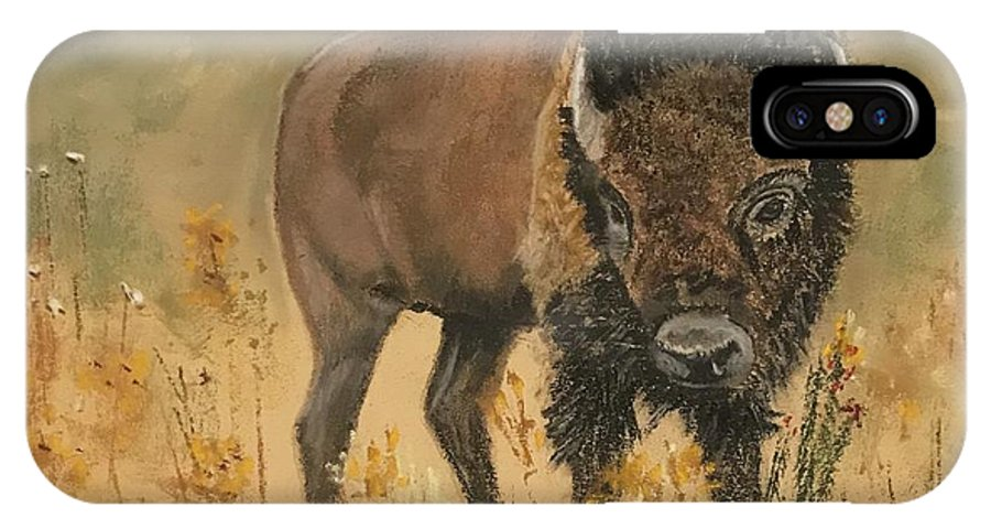 Bison IPhone X Case featuring the pastel Buff Buffalo by Peggy Paulson