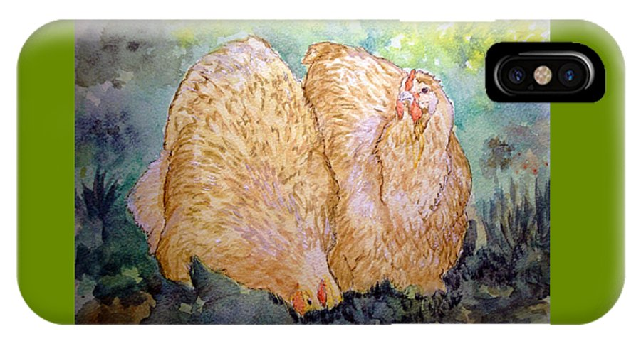 Orpington IPhone X Case featuring the painting Buff Orpington Hens In The Garden by Susan Baker