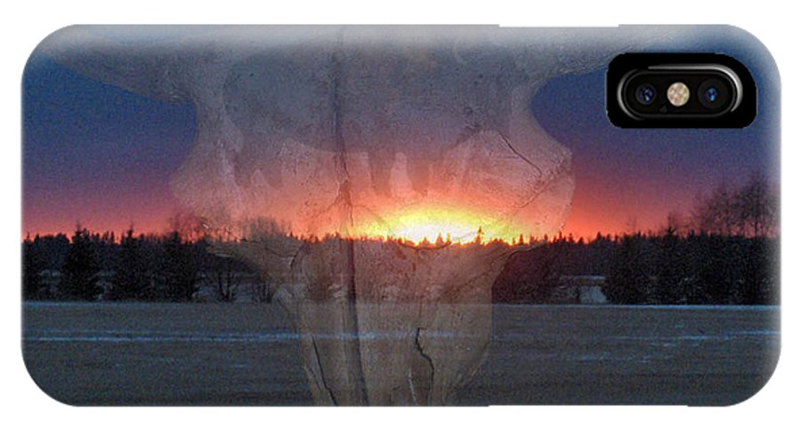 Buffalo Teepee Ghosts Skull Sunset Trees Saskatchewan IPhone X Case featuring the digital art Buffalo Ghosts by Andrea Lawrence
